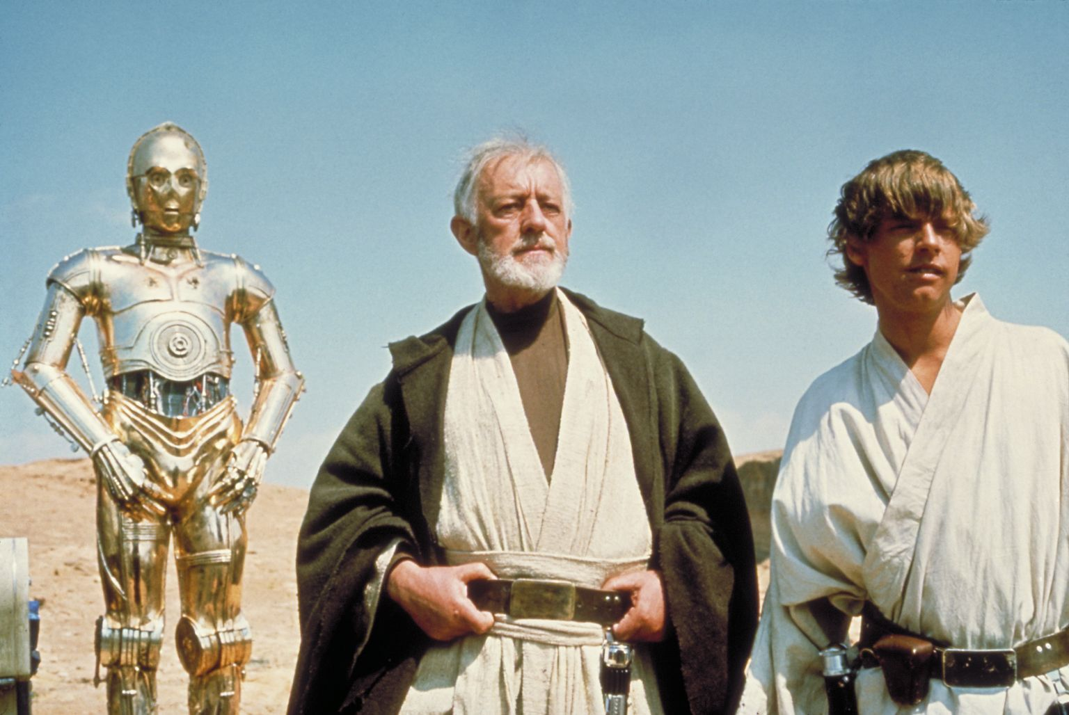 Still of Alec Guinness and Mark Hamill in Zvaigzdziu karai (1977)
