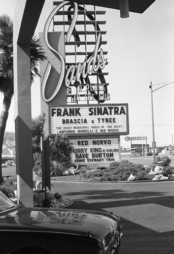 Sand's Hotel marquee in Las Vegas announcing Frank Sinatra as the night's entertainment