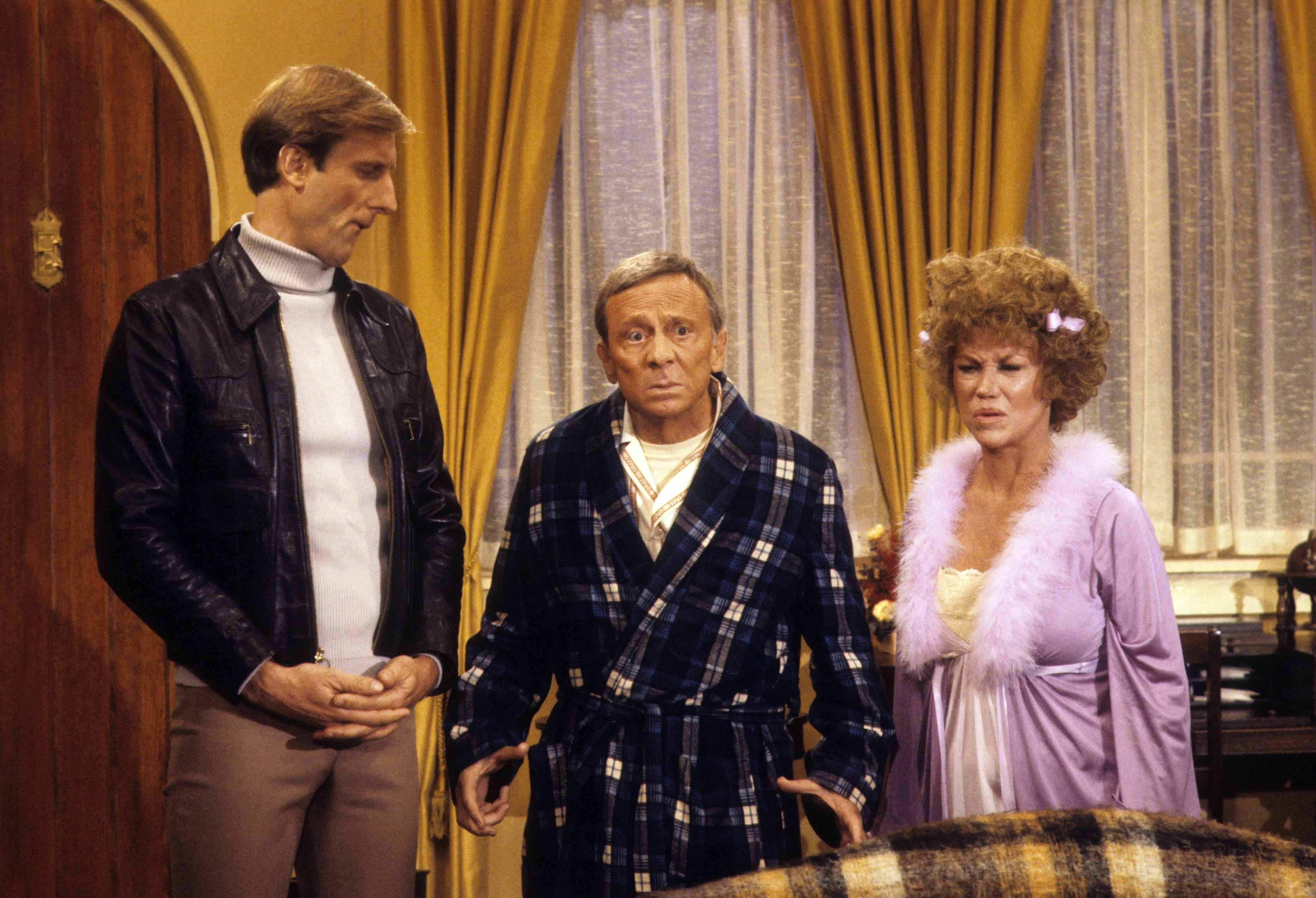 Still of James Cromwell, Norman Fell and Audra Lindley in Three's Company (1977)
