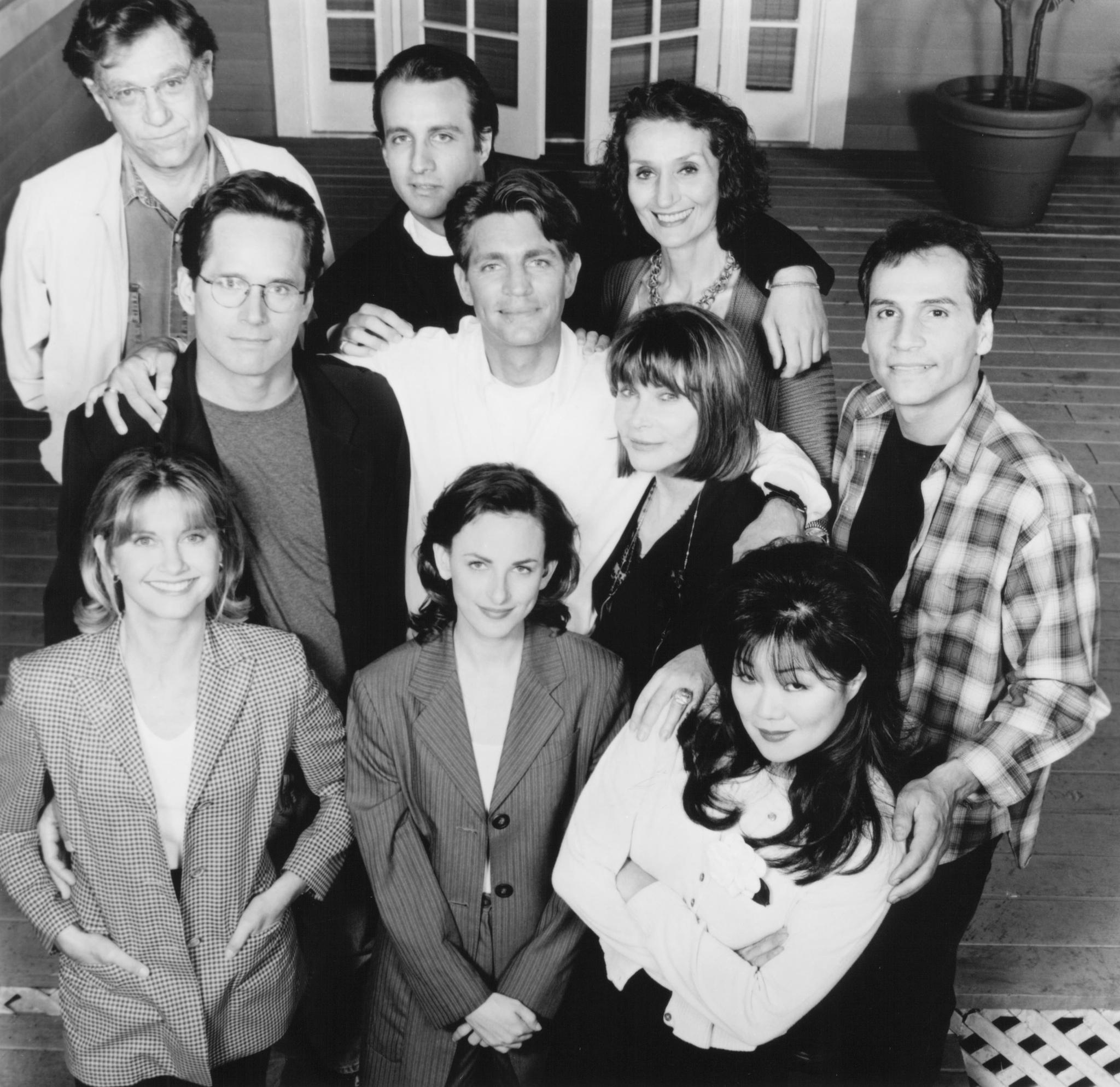 Still of Olivia Newton-John, Eric Roberts, Bronson Pinchot, George Segal, Gregory Harrison, Dimitra Arliss, Margaret Cho, Marlee Matlin and Paul Regina in It's My Party (1996)