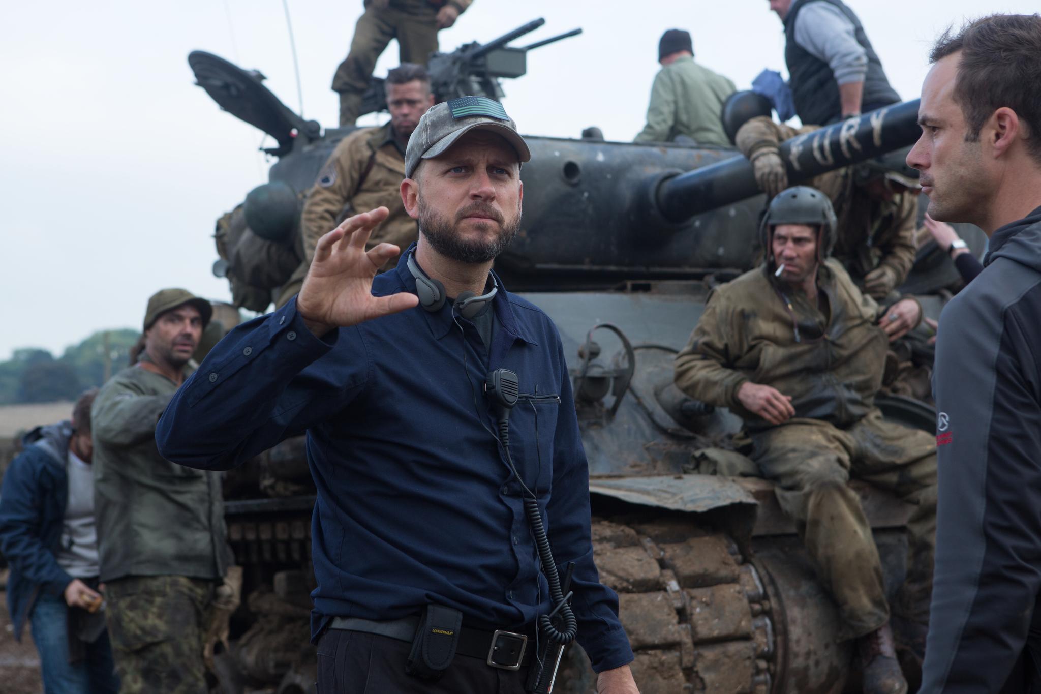 Brad Pitt, David Ayer and Jon Bernthal in Inirsis (2014)