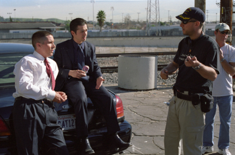 Christian Bale, David Ayer and Freddy Rodríguez in Harsh Times (2005)