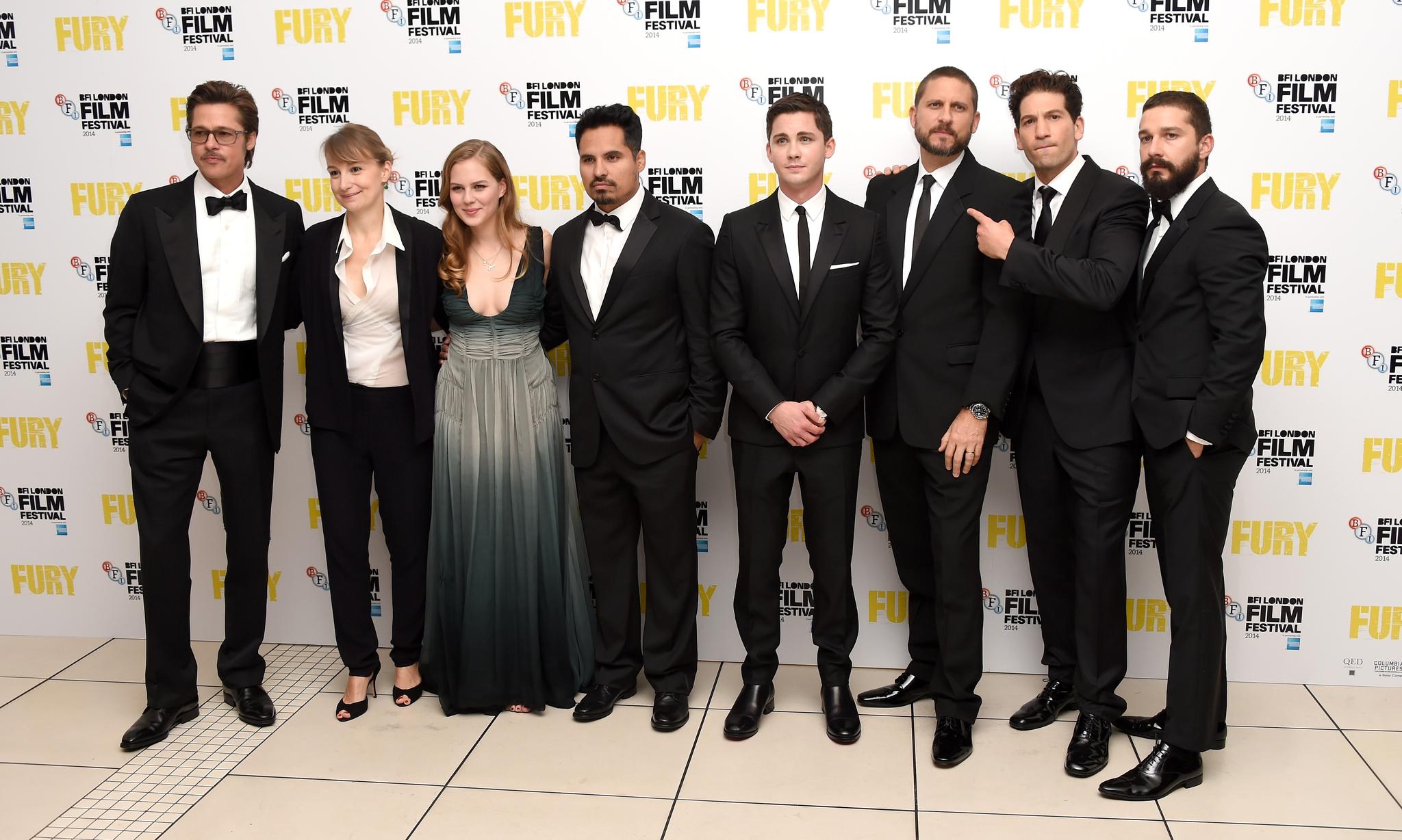 Brad Pitt, David Ayer, Logan Lerman, Jon Bernthal, Anamaria Marinca and Alicia von Rittberg at event of Inirsis (2014)