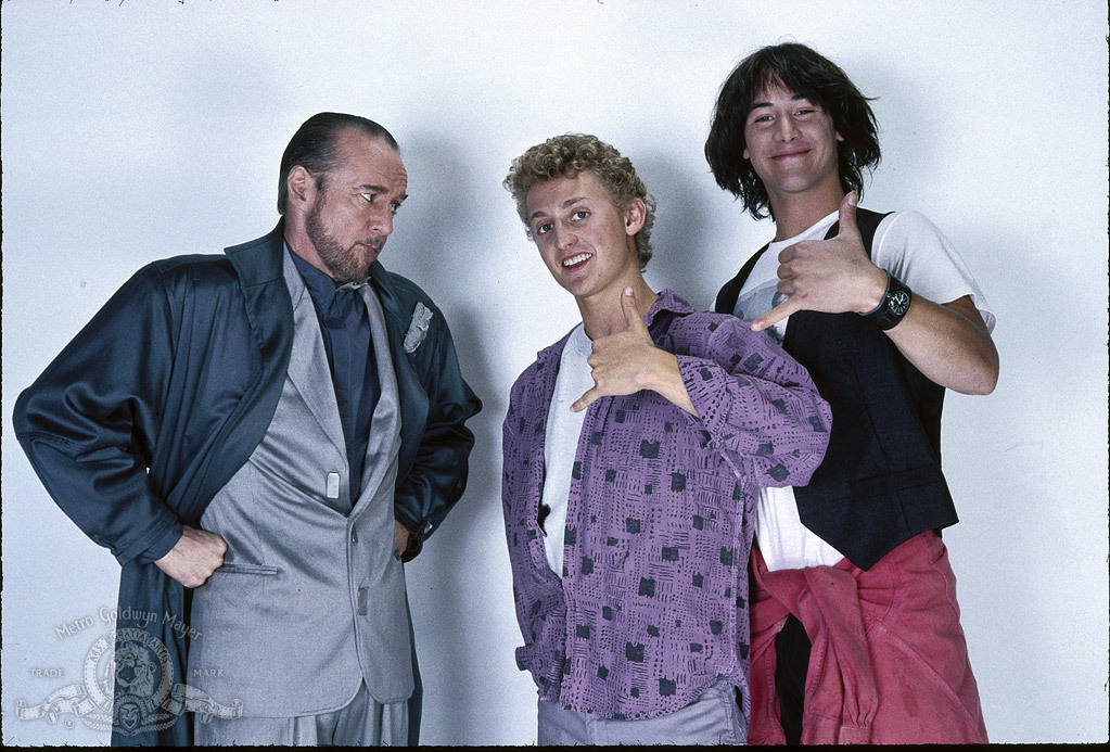 Still of Keanu Reeves, George Carlin and Alex Winter in Bill & Ted's Excellent Adventure (1989)