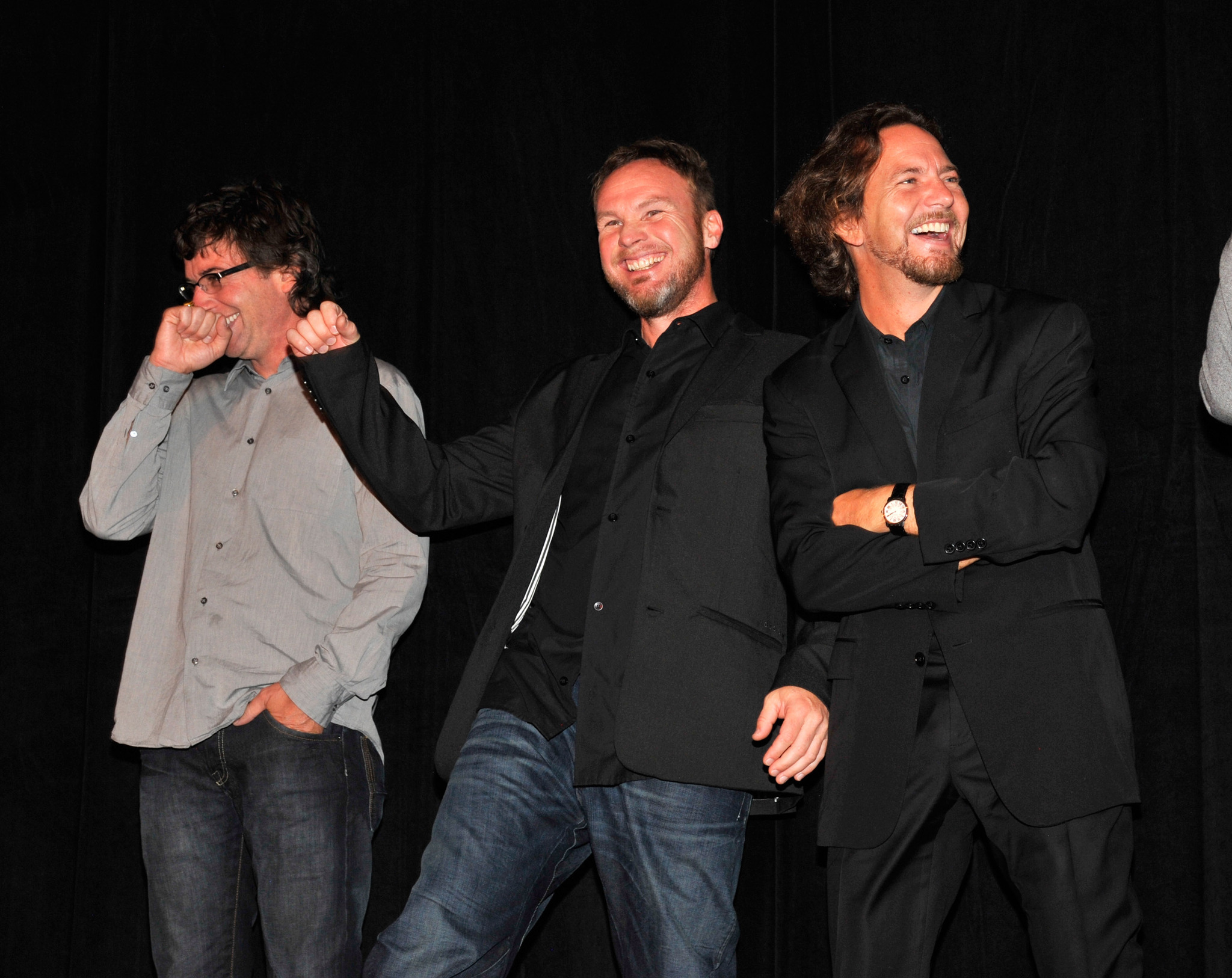 Jeff Ament, Stone Gossard, Eddie Vedder and Pearl Jam at event of Pearl Jam Twenty (2011)