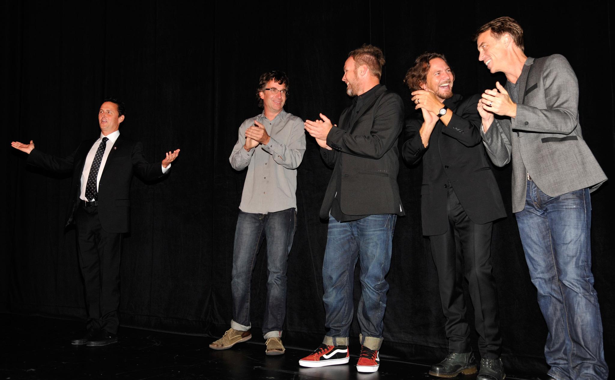 Jeff Ament, Matt Cameron, Stone Gossard, Mike McCready, Eddie Vedder and Pearl Jam at event of Pearl Jam Twenty (2011)