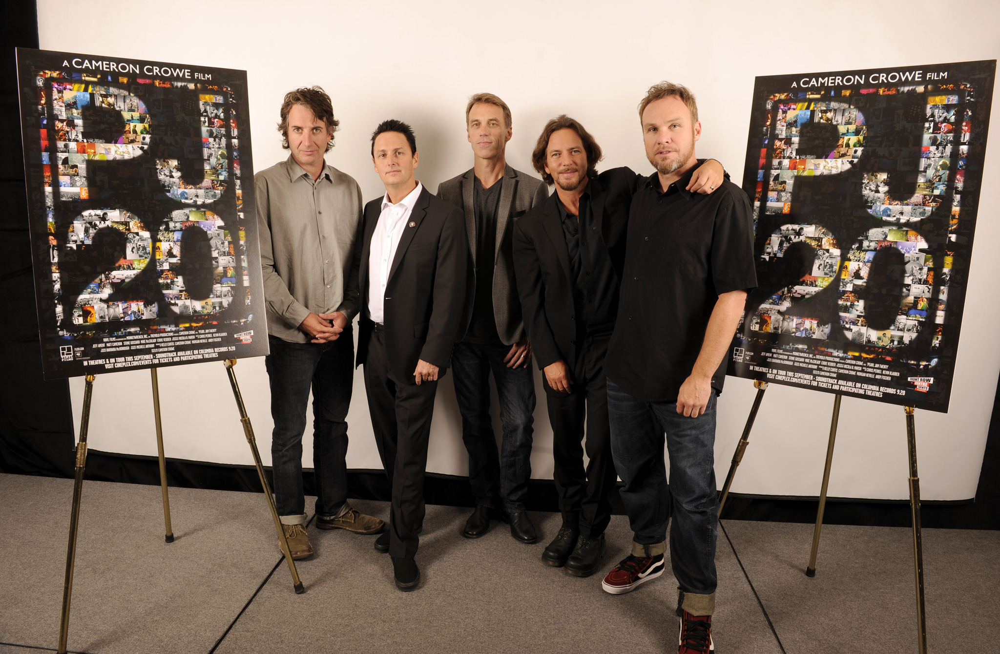 Jeff Ament, Matt Cameron, Stone Gossard, Mike McCready, Eddie Vedder and Pearl Jam at event of Pearl Jam Twenty (2011)