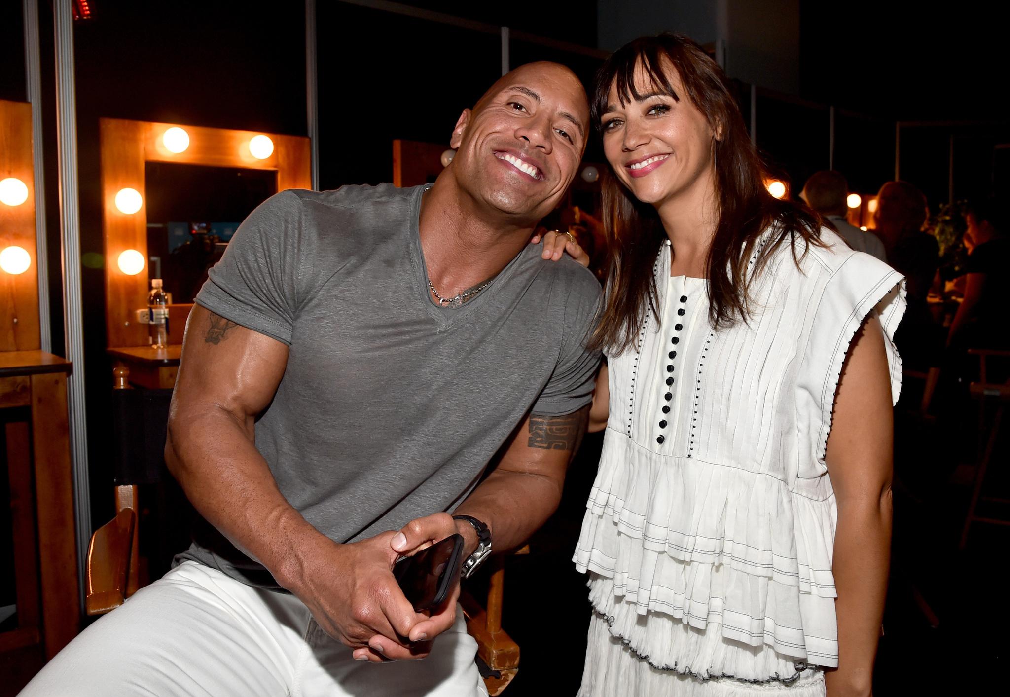 Dwayne Johnson and Rashida Jones
