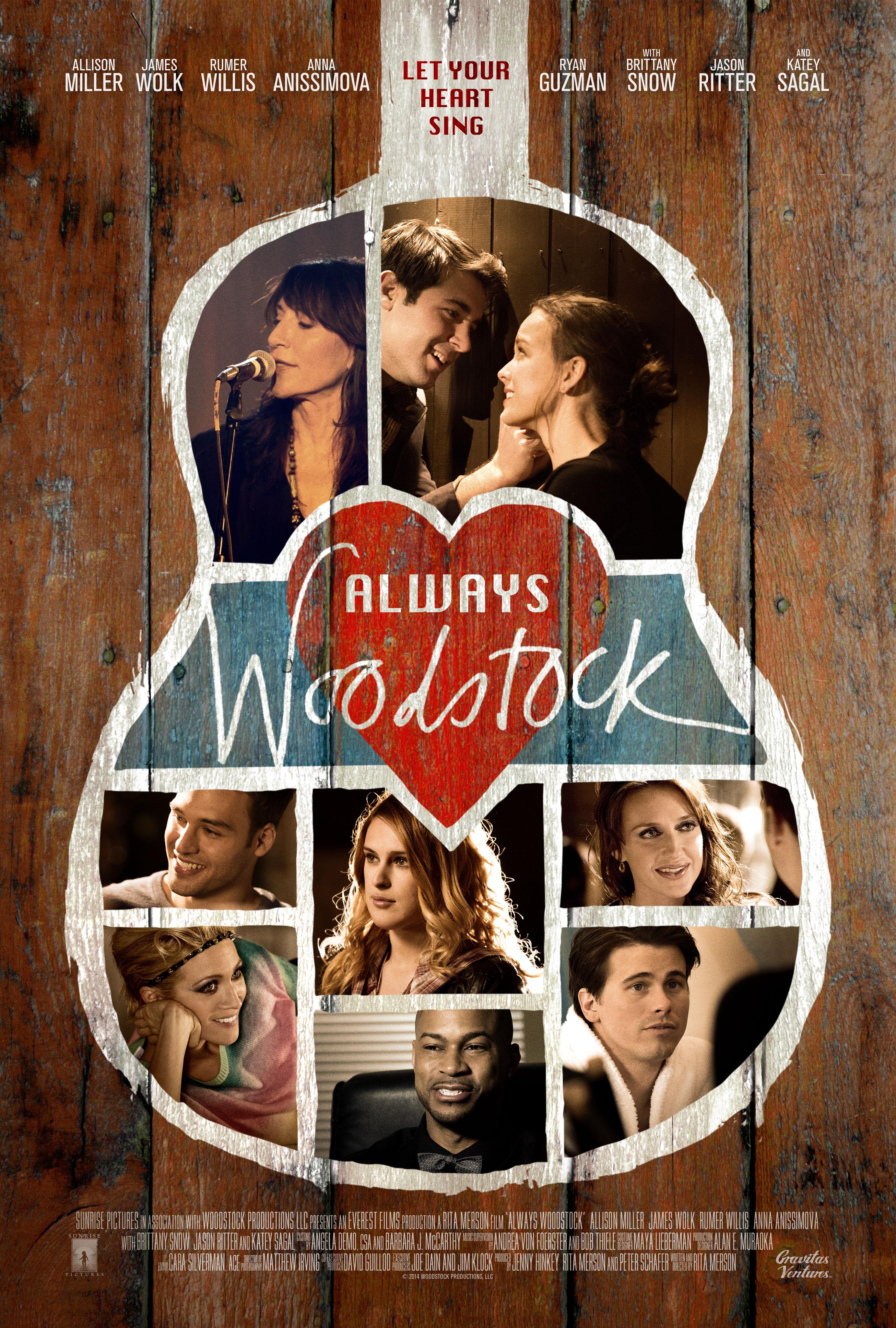 Katey Sagal, Jason Ritter, Brittany Snow, Rumer Willis, Allison Miller, James Wolk, Anna Anissimova and Ryan Guzman in There's Always Woodstock (2014)