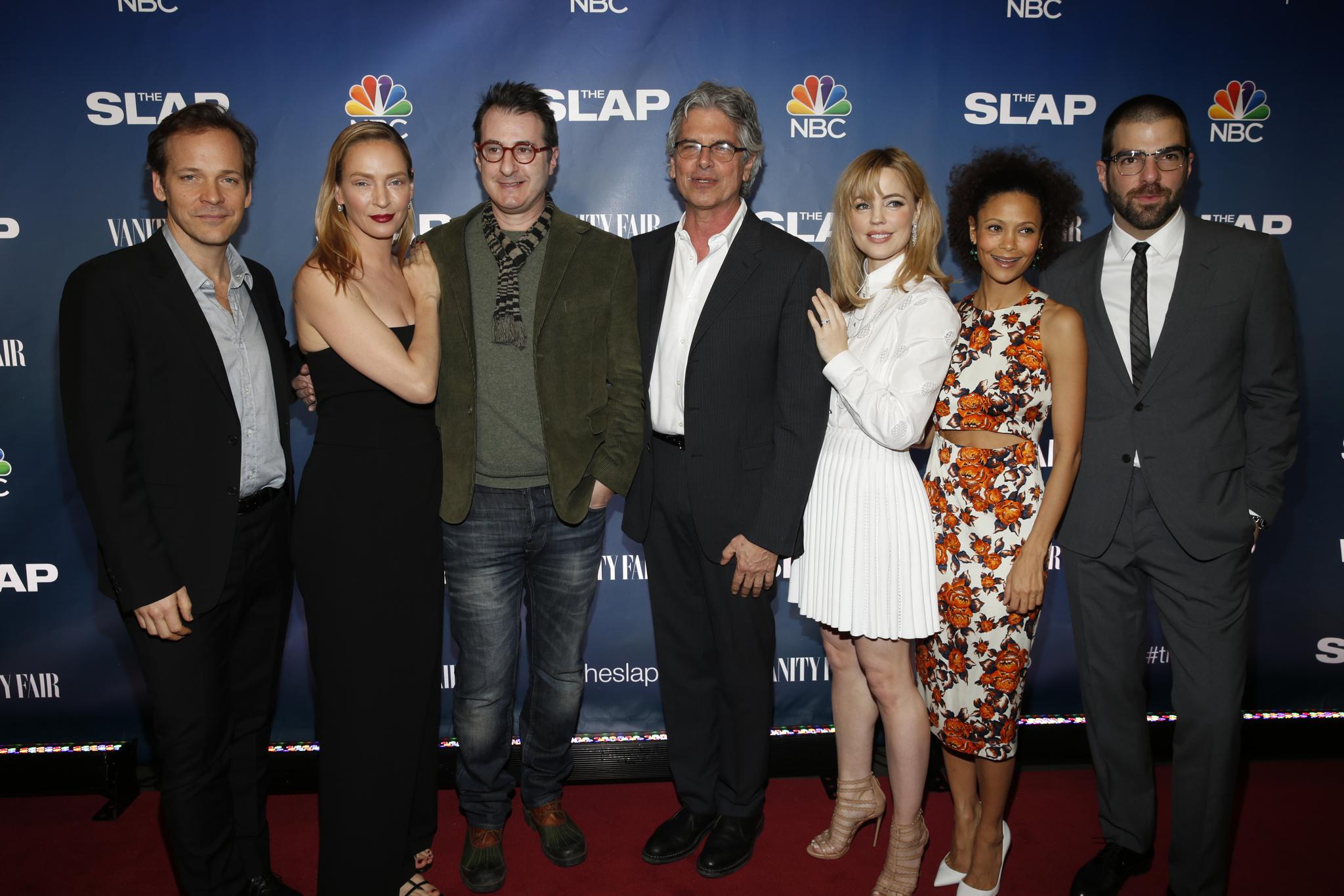 Uma Thurman, Jon Robin Baitz, Melissa George, Thandie Newton, Walter F. Parkes, Zachary Quinto and Peter Sarsgaard at event of The Slap (2015)