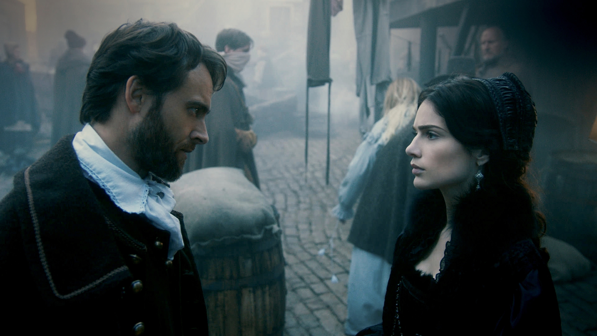 Still of Stuart Townsend and Janet Montgomery in Salem (2014)