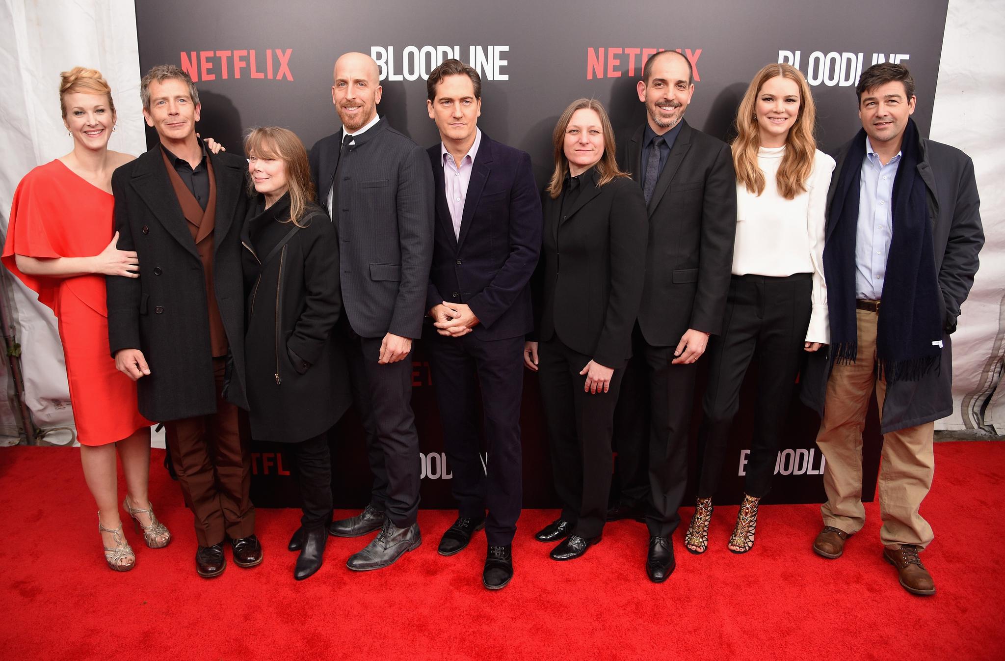 Sissy Spacek, Jacinda Barrett, Kyle Chandler, Katie Finneran, Glenn Kessler, Todd A. Kessler, Ben Mendelsohn, Daniel Zelman and Cindy Holland at event of Bloodline (2015)