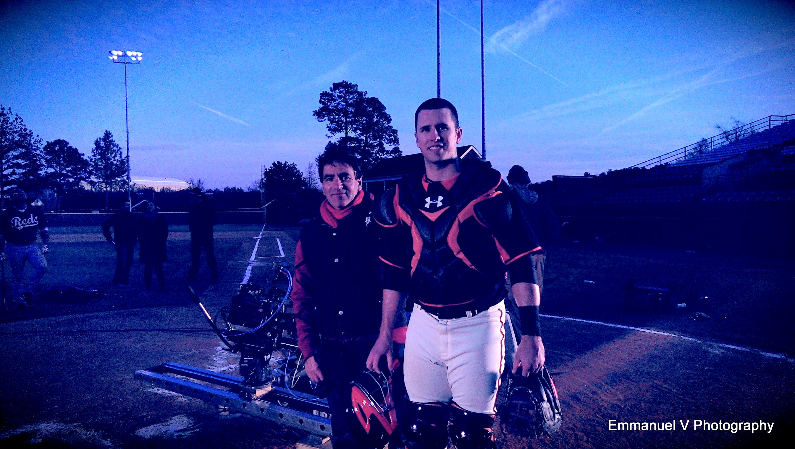 On the set filming/2014/ Under Armour with San Francisco Catcher # 28 Buster Posey Columbus Atlanta