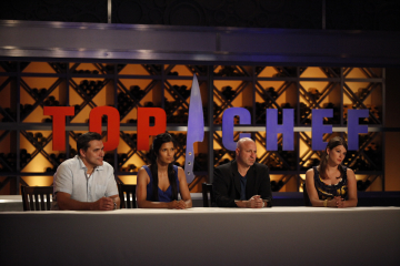 Still of Padma Lakshmi, Todd English, Gail Simmons and Tom Colicchio in Top Chef (2006)