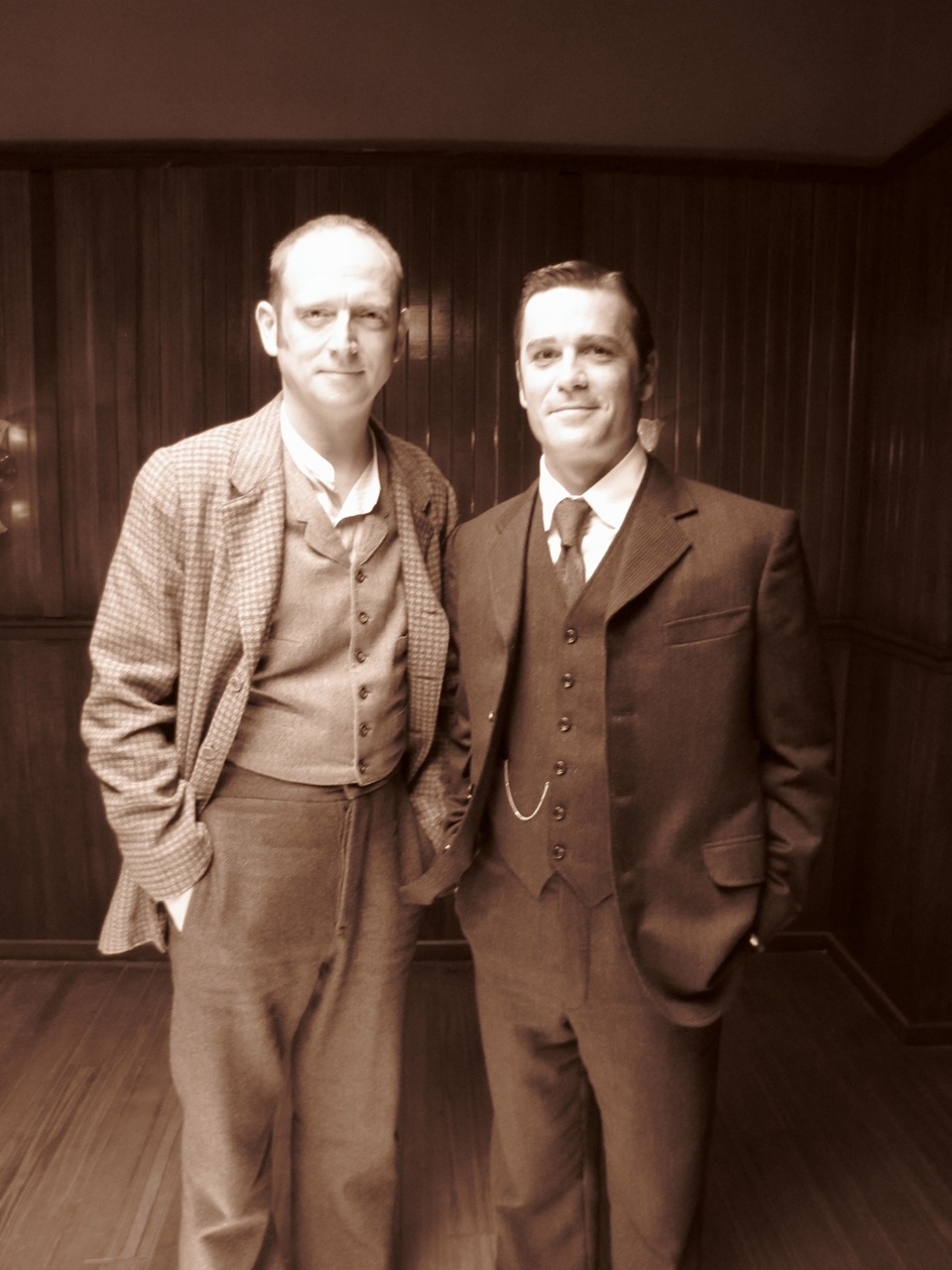 Robert Fulton with Yannick Bisson on the set of