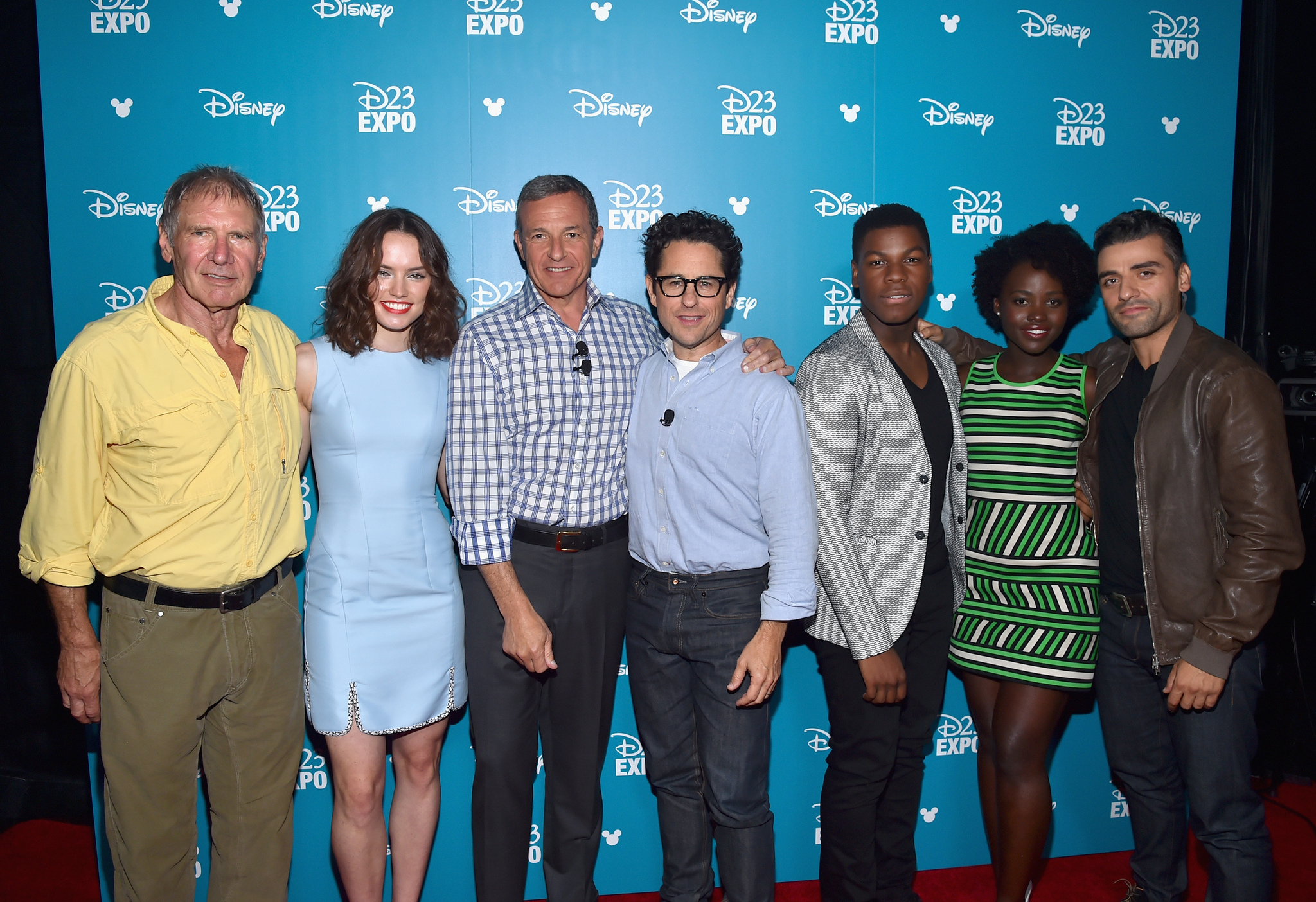 Harrison Ford, J.J. Abrams, Oscar Isaac, Lupita Nyong'o, John Boyega and Daisy Ridley