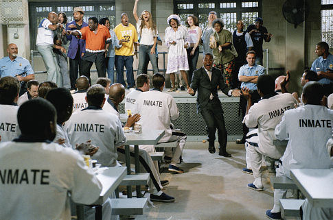 (Right center) Cuba Gooding, Jr. as Darrin Hill, (on stage left to right) Lou Myers as Homer T., Dave Sheridan as Bill, Mike Epps as Lucius, Eddie Levert, Sr. as Joseph, Angie Stone as Alma, Eric Nolan Grant as Samuel, Beyoncé Knowles as Lilly, Melba Moore as Bessie Cooley, Mae Middleton as Tasha, Mickey Jones as Scooter, Rosalie Washington as Faye Jenkins, Zane Copeland, Jr. as Derek and Mitchah Williams as Jimmy B.