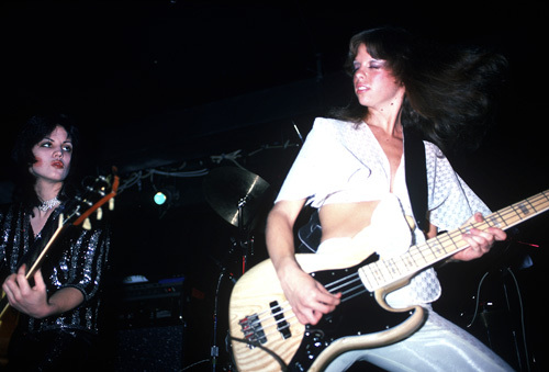 The Runaways (Joan Jett, Jackie Fox) performing at CBGB in New York City on August 2, 1976