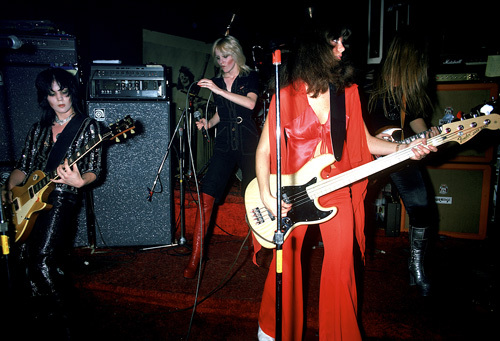 The Runaways (Joan Jett, Jackie Fox, Lita Ford) performing at CBGB in New York City on August 2, 1976
