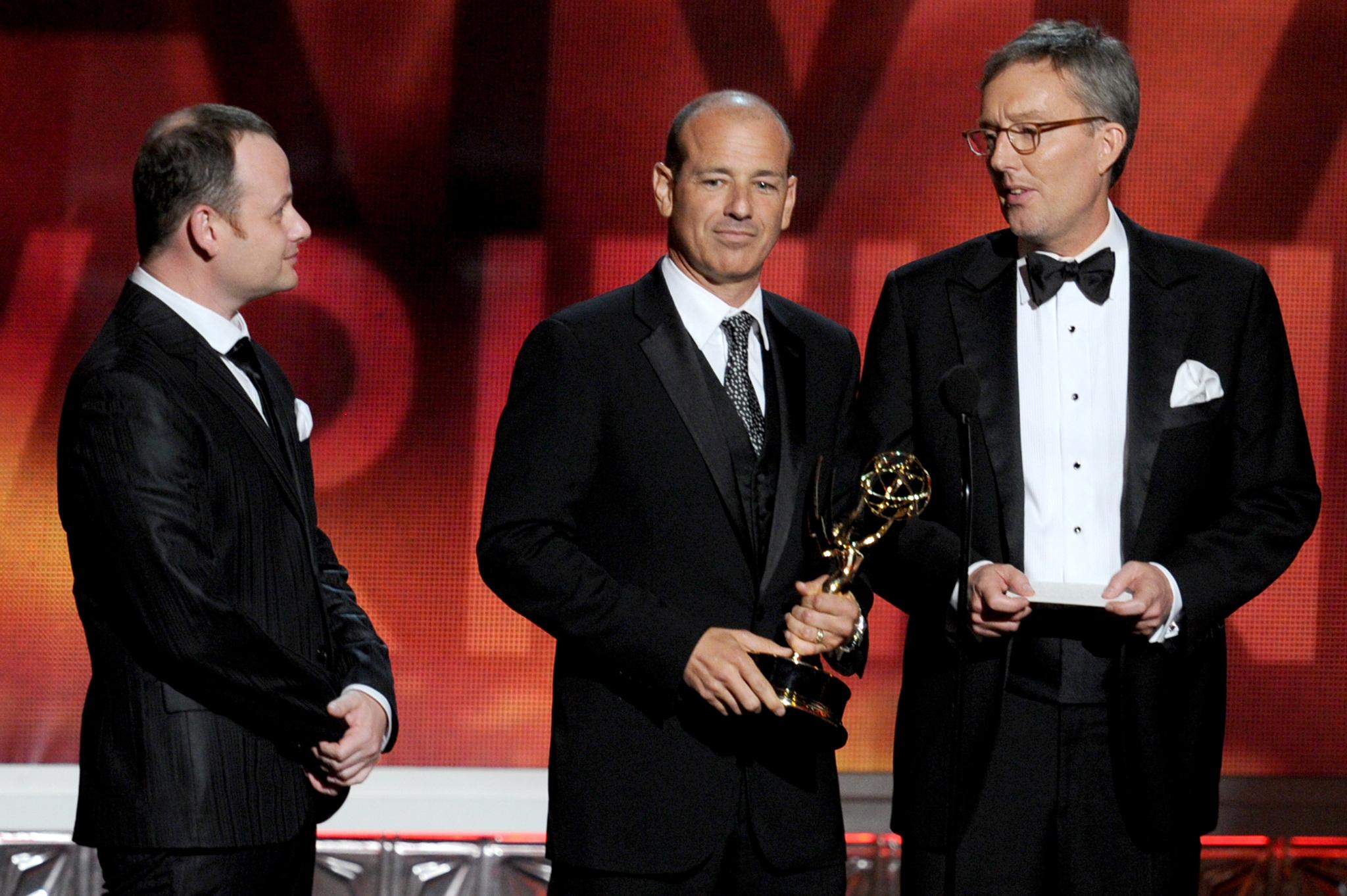 Alex Gansa, Howard Gordon and Gideon Raff at event of The 64th Primetime Emmy Awards (2012)