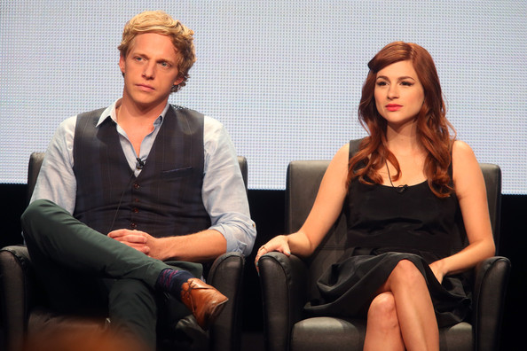 Chris Geere and Aya Cash speak onstage at the 'You're The Worst ' panel during the FX Networks portion of the 2014 Summer Television Critics Association at The Beverly Hilton Hotel