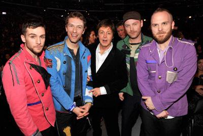 Paul McCartney, Chris Martin, Guy Berryman, Jon Buckland and Will Champion