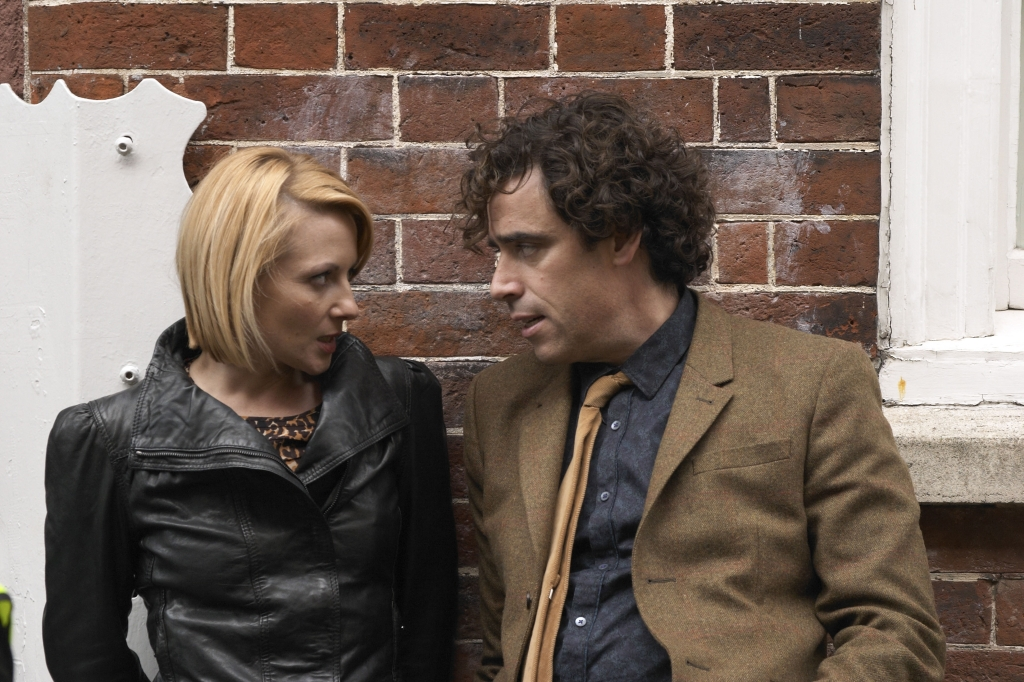 Lisa Dillon with Stephen Mangan in Dirk Gently