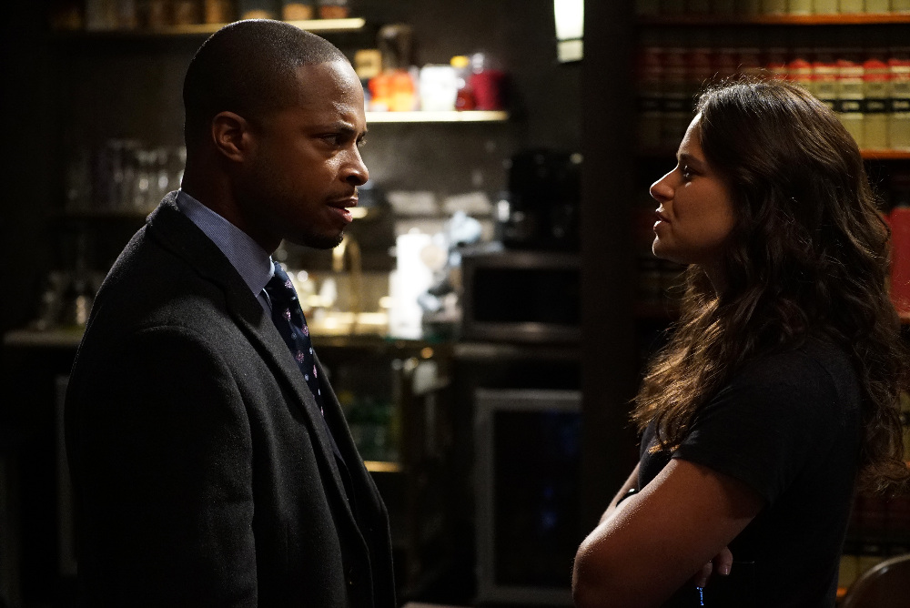 Still of Katie Lowes and Cornelius Smith Jr. in Scandal (2012)