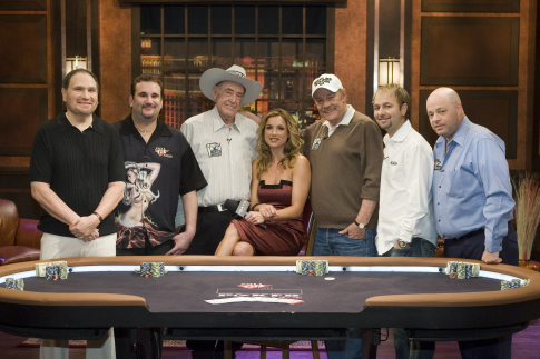 Still of Jerry Buss, Shana Hiatt, Gabe Kaplan, Daniel Negreanu, Doyle Brunson and Mike Matusow in Poker After Dark (2007)