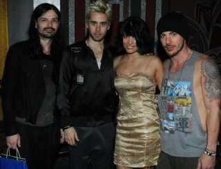 Tomo Milicevic, Jared Leto, Veronica Grey, and Shannon Leto.