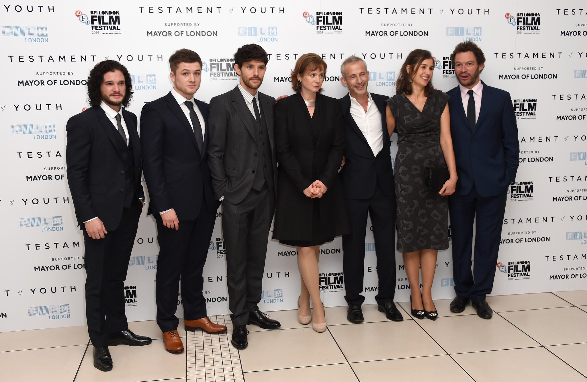 Emily Watson, James Kent, Dominic West, Juliette Towhidi, Colin Morgan, Kit Harington and Taron Egerton at event of Jaunystes pazadas (2014)