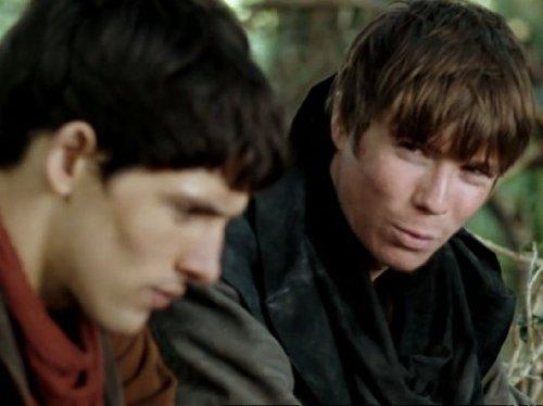 Still of Joe Dempsie and Colin Morgan in Merlin (2008)