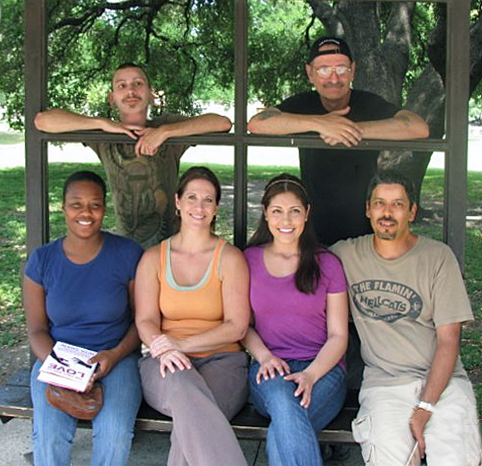 On the set in San Antonio, Texas. Pictured: (From top, left to right) Jeremy Brockbank, Director R. Christian Anderson, Erica Nunn, Charlotte Case, Karla Daniel Pena and D.R. Pedraza.