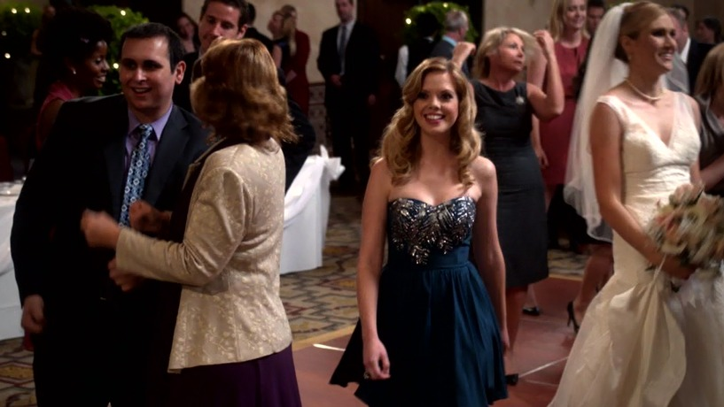 Mark Sinacori on the series Don't Trust The B-In Apartment 23 as a Wedding Guest to the left of Dreama Walker in the episode
