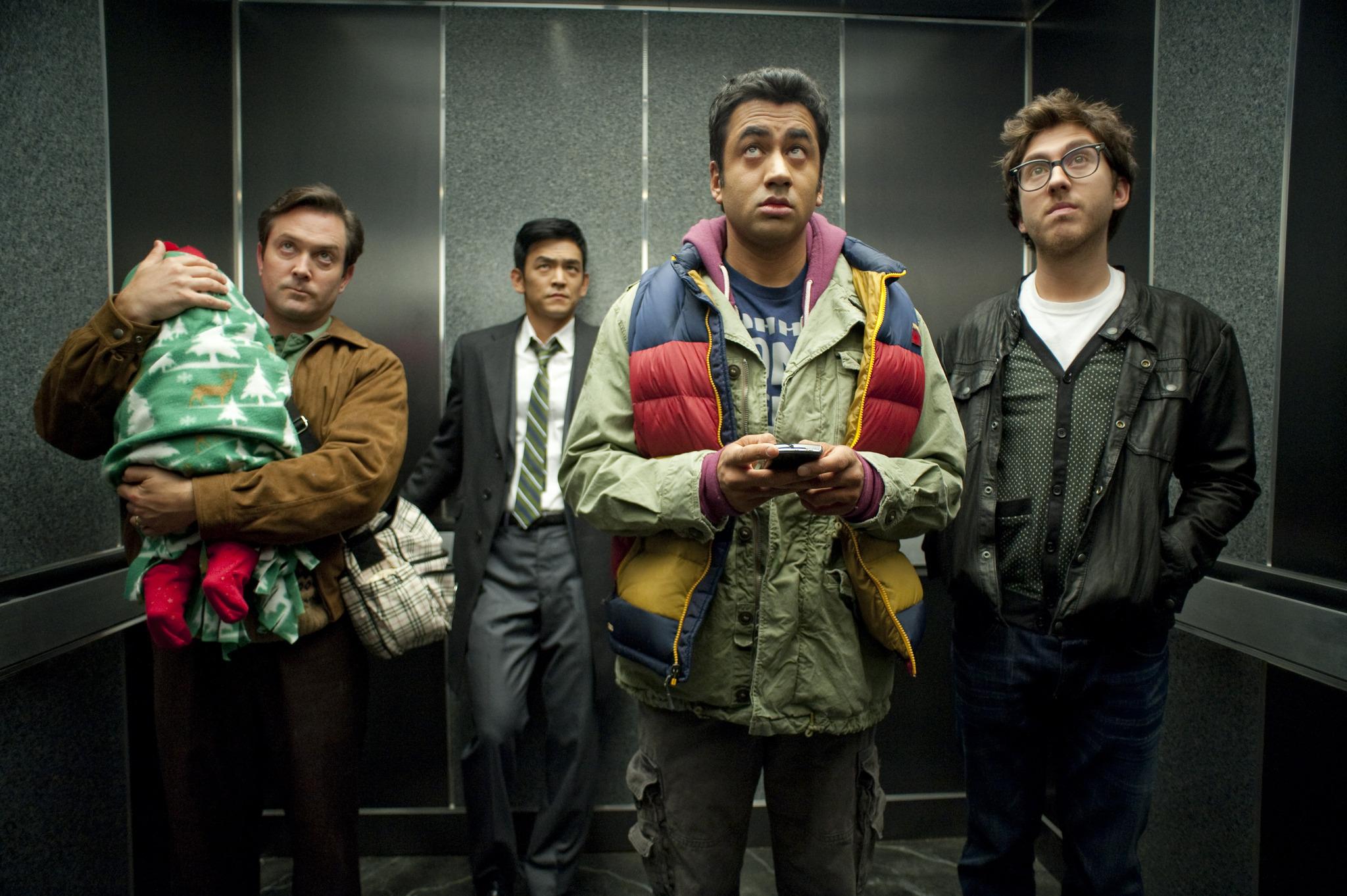 Still of John Cho, Thomas Lennon, Kal Penn and Amir Blumenfeld in A Very Harold & Kumar 3D Christmas (2011)