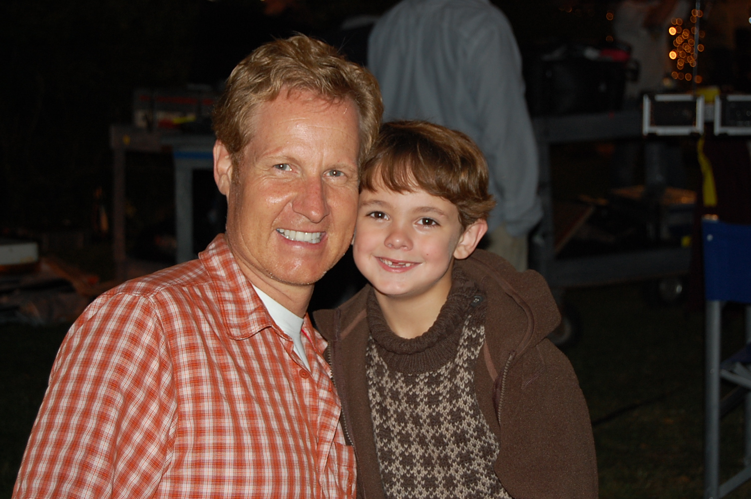 Max Charles with Brent Shields (Executive Producer) on the set of Hallmarks November Christmas.