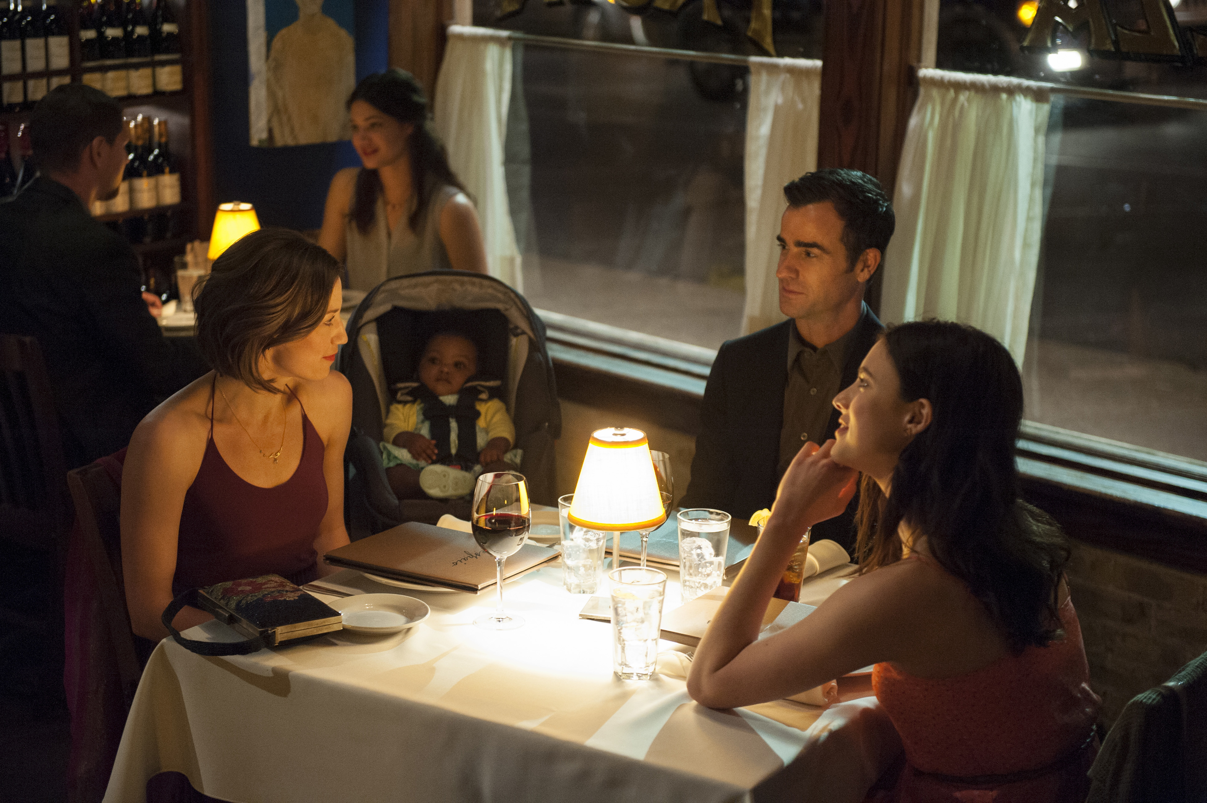 Still of Justin Theroux, Carrie Coon and Margaret Qualley in The Leftovers (2014)