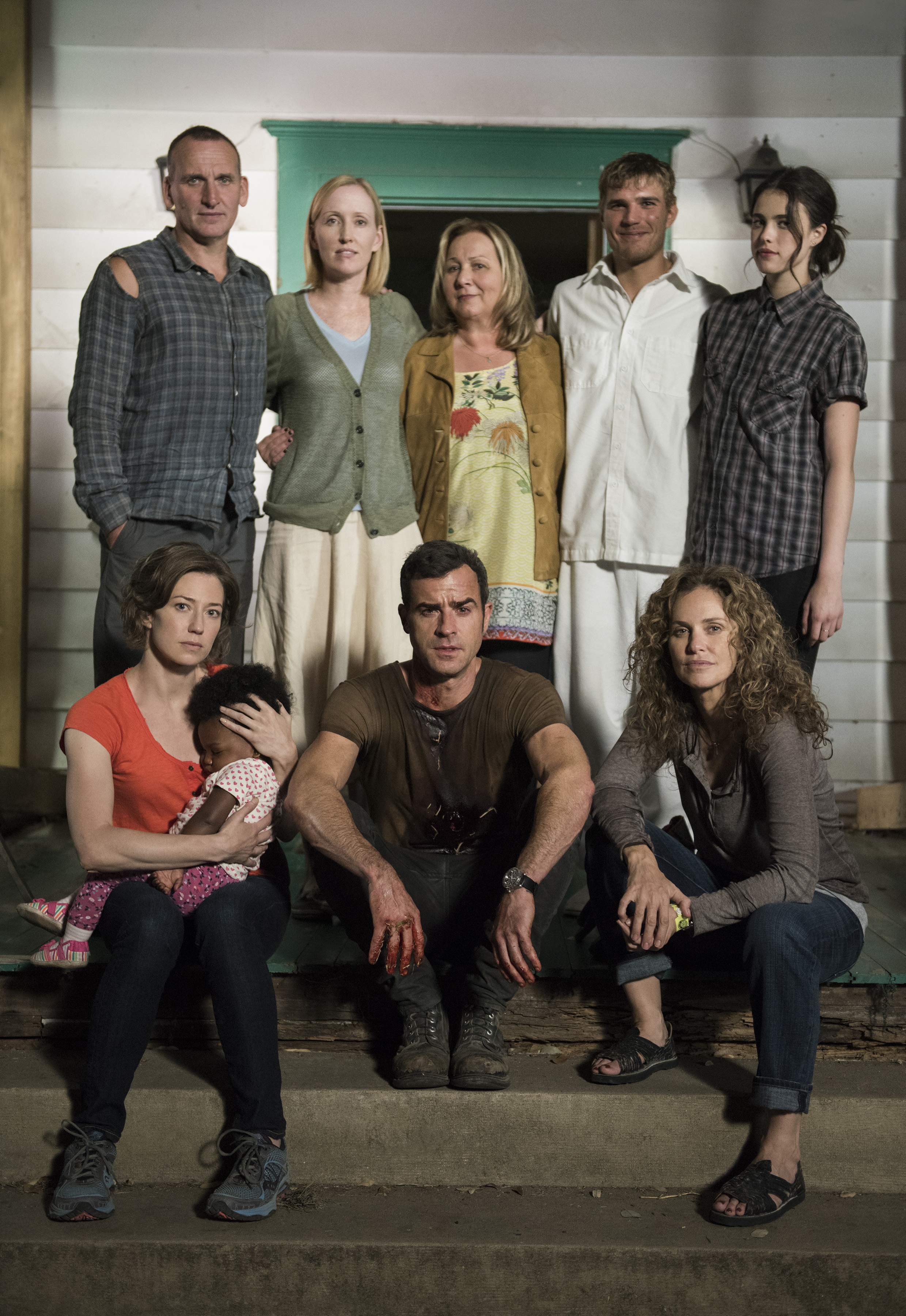 Still of Amy Brenneman, Christopher Eccleston, Mimi Leder, Janel Moloney, Justin Theroux, Chris Zylka, Carrie Coon and Margaret Qualley in The Leftovers (2014)