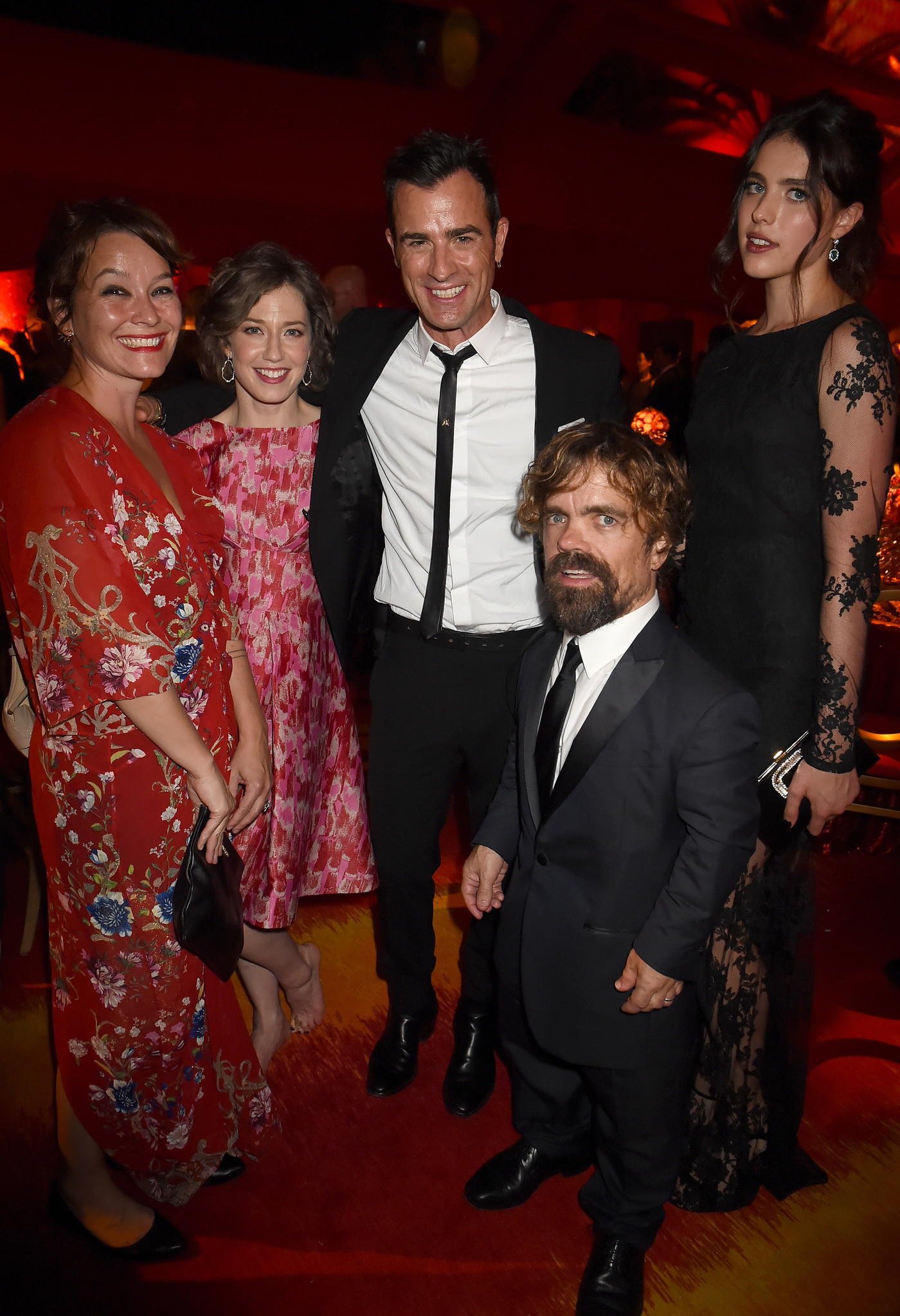 Peter Dinklage, Justin Theroux, Erica Schmidt, Carrie Coon and Margaret Qualley at event of The 67th Primetime Emmy Awards (2015)