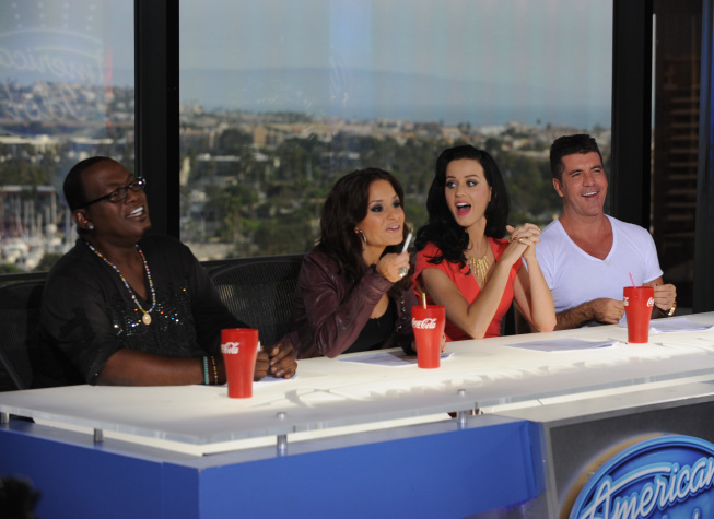 Still of Simon Cowell, Randy Jackson, Kara DioGuardi and Katy Perry in American Idol: The Search for a Superstar (2002)