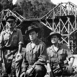 Still of Alec Guinness, William Holden and Jack Hawkins in The Bridge on the River Kwai (1957)