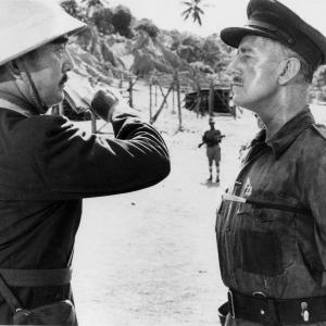 Still of Alec Guinness and Sessue Hayakawa in The Bridge on the River Kwai (1957)