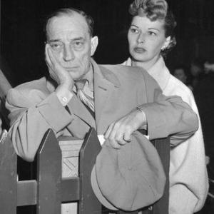 Buster Keaton and Eleanor Keaton arriving in London July 1952