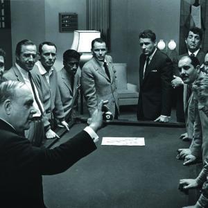 Still of Frank Sinatra, Dean Martin, Sammy Davis Jr., Joey Bishop and Peter Lawford in Ocean's Eleven (1960)