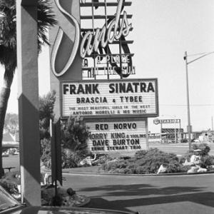 Sands Hotel marquee in Las Vegas announcing Frank Sinatra as the nights entertainment