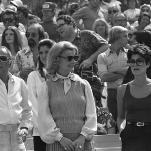 Frank Sinatra with Barbara Marx and daughter Tina at a Los Angeles Dodgers World Series game