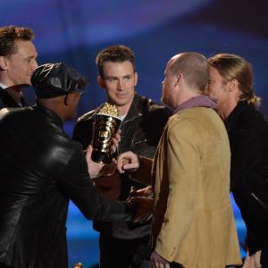 Brad Pitt Samuel L Jackson Chris Evans Joss Whedon and Tom Hiddleston at event of 2013 MTV Movie Awards 2013