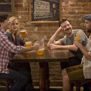 Still of Drew Barrymore Charlie Day Justin Long and Jason Sudeikis in Going the Distance 2010