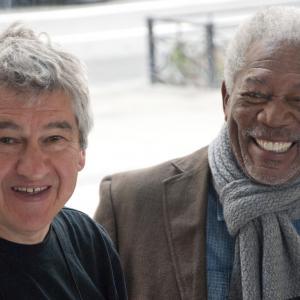 Still of Morgan Freeman and Richard Loncraine in Musu gyvenimas (2014)
