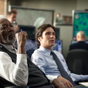 Still of Morgan Freeman and Cillian Murphy in Viespatavimas (2014)